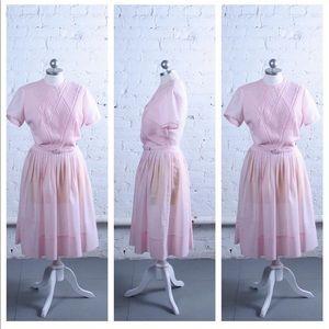 Dresses & Skirts - Vintage 1950s Pale Pink Day Dress w/ belt